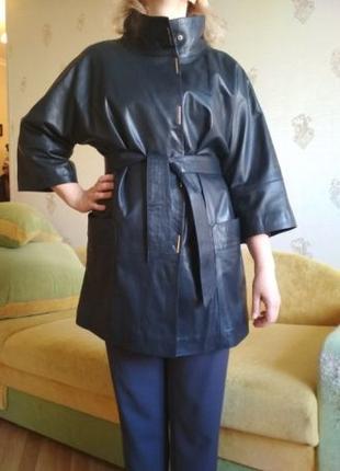 Новый кожаный женский плащ Турция, размер 46-48