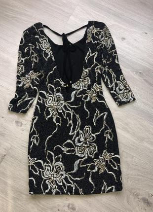 Шикарное облегающее дискотечное платье мини , платье открытая ...