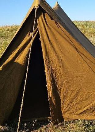 Брезентовая советская армейская 4 х местная палатка намет брез...