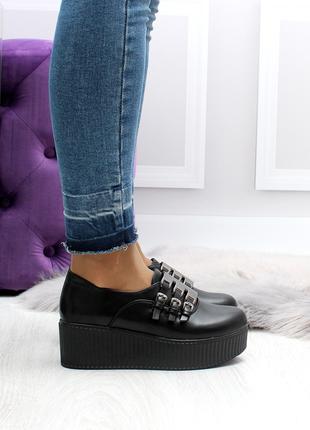 Женские туфли черного цвета, из эко кожи код  2506