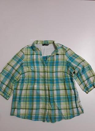 Фирменная льняная рубашка блуза
