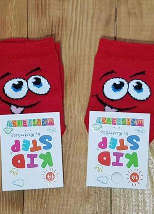 """Носки красные """"смайлик"""", размер 14 / 1-2 года"""