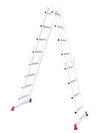 Лестница алюминиевая трансформер 4*4ступ. 4.62м INTERTOOL LT-0029
