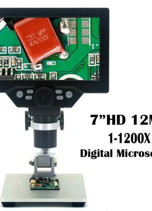"""Микроскоп G1200 цифровой 7"""" 12mPx 1200x на алюминиевом штативе"""