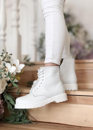 Dr. martens 1460 white белые без меха женские кроссовки наложе...