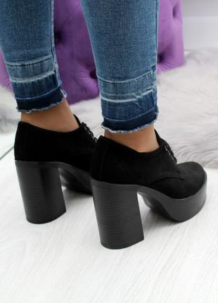 Женские туфли черного цвета, из натуральной замши код  2500