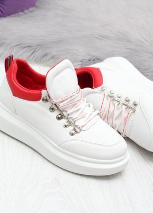Женские кроссовки в бело-красном цвете, эко кожа код 2498