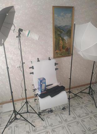 Комплект для предметной фотосъемки - фотостолик, штативы, лампы и