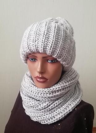 Молодёжный комплект шапка и снуд серый