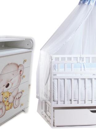 Комплект для сна! Комод, кровать маятник, матрас кокос, постель.