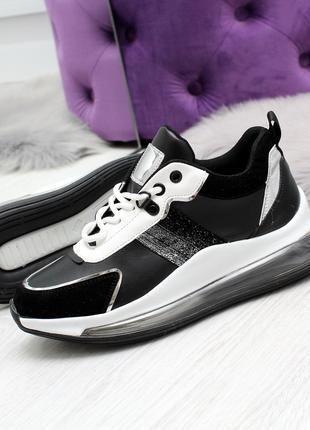 Женские кроссовки черно-белого цвета, эко кожа+эко замша 2481