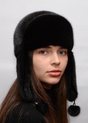 Женская норковая шапка ушанка