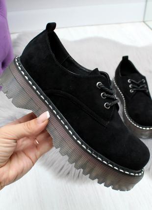 Женские туфли черного цвета на низком ходу, эко замша 2476