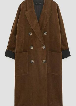 Двубортное пальто из вельвета от zara woman