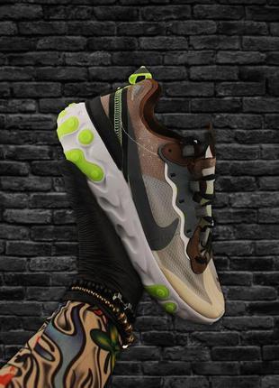 Крутые мужские кроссовки nike react element 87 gray brown green