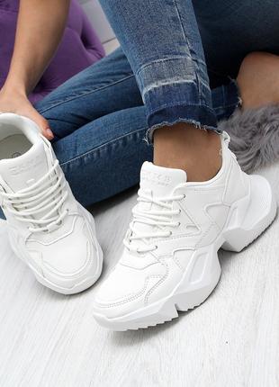 Женские кроссовки белого цвета, эко кожа 2453