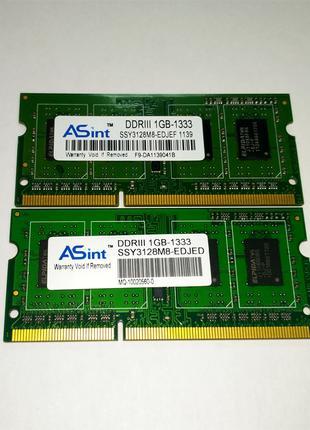 Память Для Ноутбука ASint DDR3-1333 PC3-10600 2x1GB (2GB)