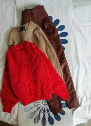 Вязаный алый свитер крупной вязки объемный оверсайз в'язаний с...