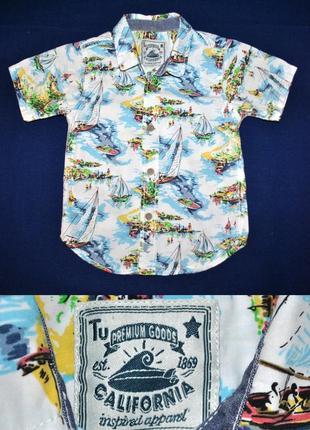 Рубашка тенниска с парусниками от tu на 2-3года