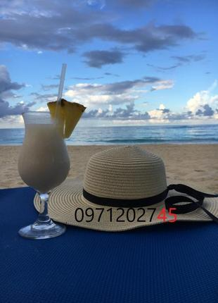 Шляпа женская летняя с широкими полями 12 см и лентой кремовая...