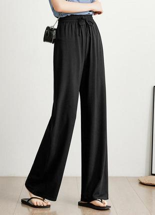 Широкие штаны кюлоты брюки-палаццо черные женские длинные в пол