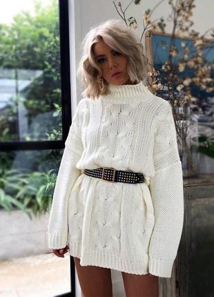 Платье в рубчик теплое вязка