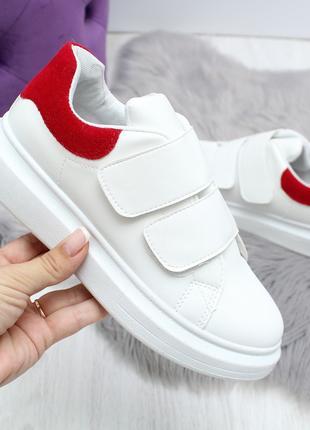 Женские кроссовки бело-красного цвета, эко кожа 2443