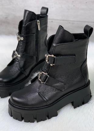 Крутые кожаные ботинки на массивной подошве,массивные демисезо...