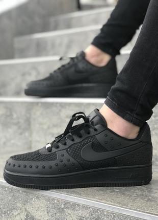 Мужские стильные чёрные кроссовки \кеды найк nike air force bl...