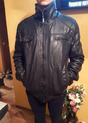 Мужская Кожаная куртка на утеплителе