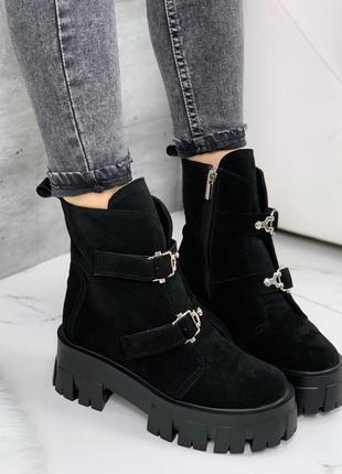 Крутые замшевые ботинки на массивной подошве,массивные демисез...