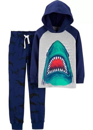 Трикотажный комплект - штанишки и худи акулы картерс для мальчика