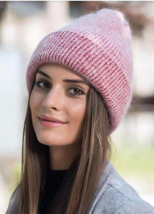 Теплая шапка бини красная