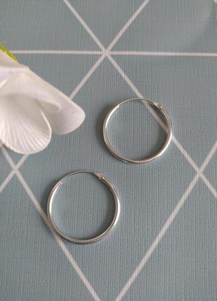 Срібні сережки кільця, серебряные серьги кольца, круглые сереж...