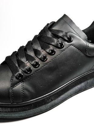 Мужские чёрные кроссовки кеды стильные лёгкие