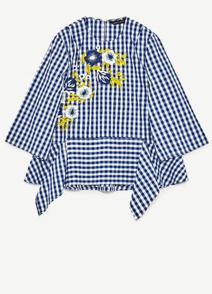 Рубашка в клетку с вышивкой от zara