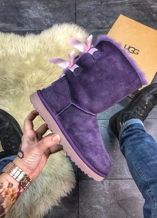 Ugg угги женские bailey bow leather viole натуральный замш и мех