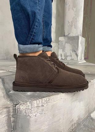 Мужские ботинки ugg brown натуарльный замш , натуральная цельн...