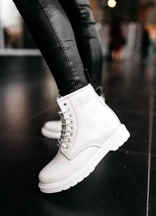 Шикарные женские ботинки dr.martens black белые кожа