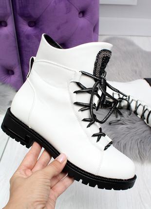 Демисезонные женские белые ботинки, эко кожа 2423