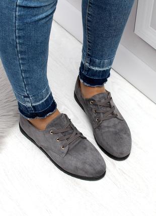 Женские туфли серого цвета на низком ходу, эко замша 2420