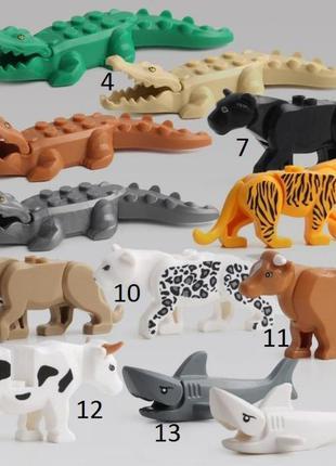 Фигурки животных Тигр,Лев,Пантер,Крокодил Duplo animal Дупло л...