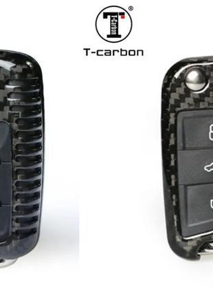 Карбоновый чехол для ключа volkswagen Polo,Seat leon Ibiza,Sko...