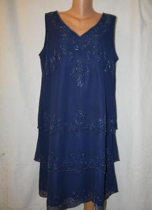 Нарядное платье расшитое бисером большого размера joanna hope