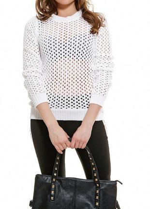 Шара!!! свитер-сеточка белого цвета
