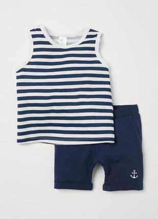 Трикотажный костюм для мальчика - майка и шортики на 4 года от...