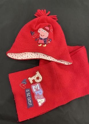 Набор шапка плюс шарф на девочку 1-2 года