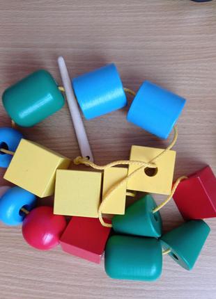 Шнуровка, шнуровка Komarovtoys, деревянная игрушка