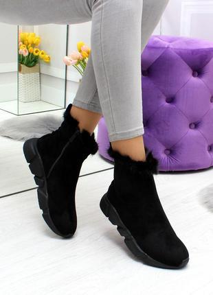 Модные зимние ботинки с опушкой из кролика