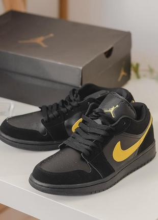 Nike air jordan 1 low black/yellow мужские кожаные кроссовки 😍